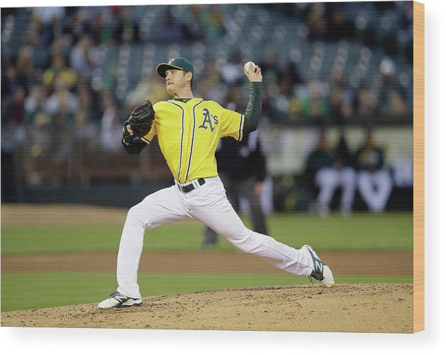 American League Baseball Wood Print featuring the photograph Seattle Mariners V Oakland Athletics by Ezra Shaw