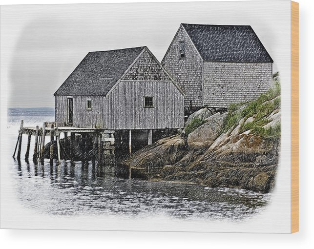 Luxury Wood Print featuring the photograph Sheds At Peggys Cove by Gene Norris
