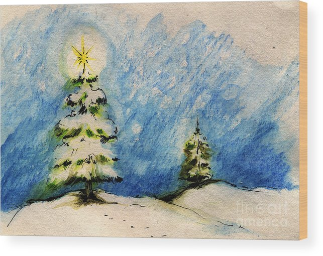 Christmas Wood Print featuring the painting Silent Night Holy Night by Angel Ciesniarska