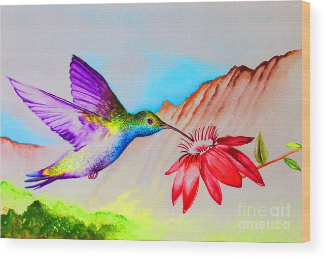 Hummingbird Wood Print featuring the painting Sipping Sweet Contemporary by Jerome Wilson