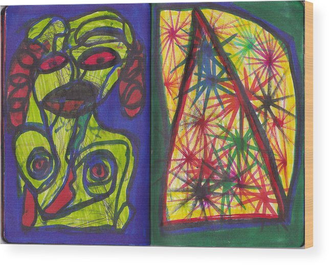 Darrell Black Definism Artwork Wood Print featuring the drawing Sketchbook Image 5 by Darrell Black