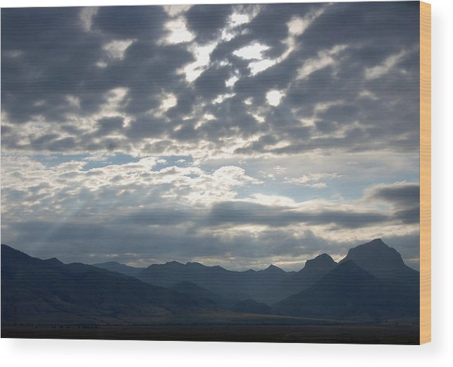 Wyoming Wood Print featuring the photograph Sky And Mountains by Christina Jo Horton