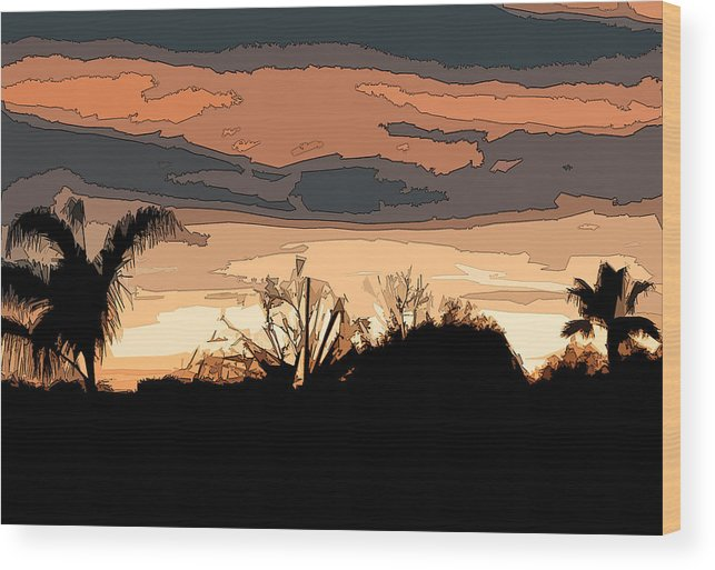 Abstract Wood Print featuring the digital art Solana Beach Sunset 2 by Kirt Tisdale