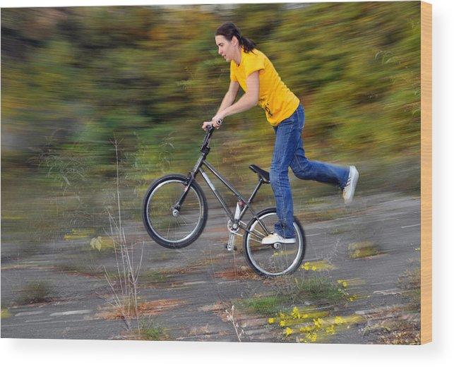 Bmx Flatland Wood Print featuring the photograph Speed - Monika Hinz Doing A Wheelie On Her Bmx Flatland Bike by Matthias Hauser