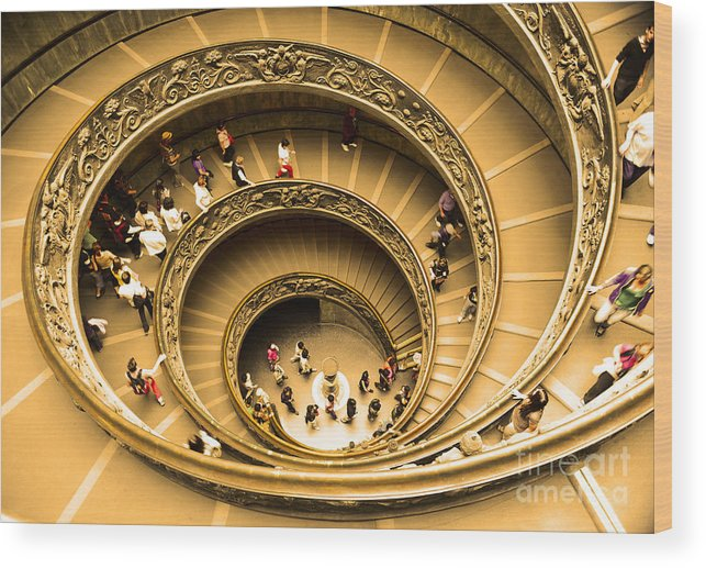 Vatican Museum Wood Print featuring the photograph Spiral Staircase by Stefano Senise
