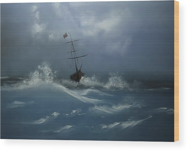 Seascape Wood Print featuring the painting Storm Tossed by Eugene Budden