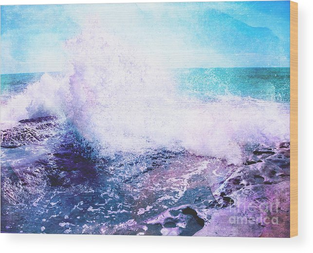Sunset Wood Print featuring the photograph Sunset Cliff Wave by Jennifer Mecca
