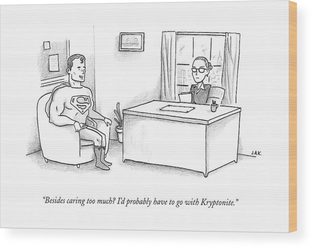 Job Interview Wood Print featuring the drawing Superman Sits At A Job Interview by Jason Adam Katzenstein