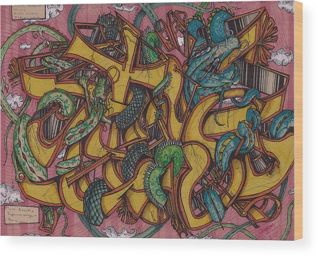 Dragons Wood Print featuring the mixed media Tagging Dragons by Dillon Cupples
