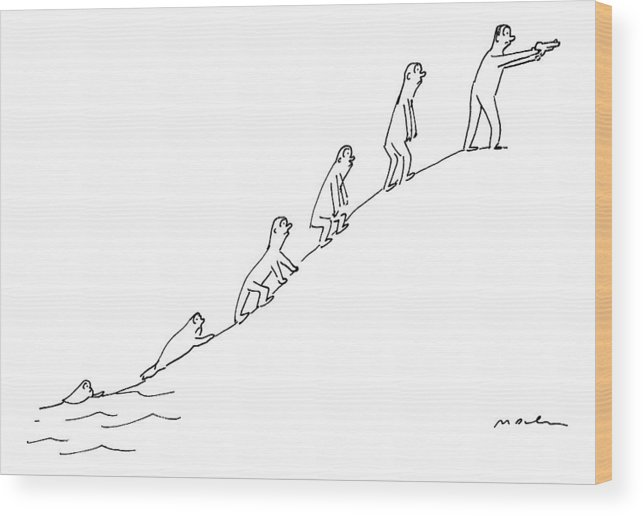 Captionless Guns Wood Print featuring the drawing The Ascent Of Man by Michael Maslin
