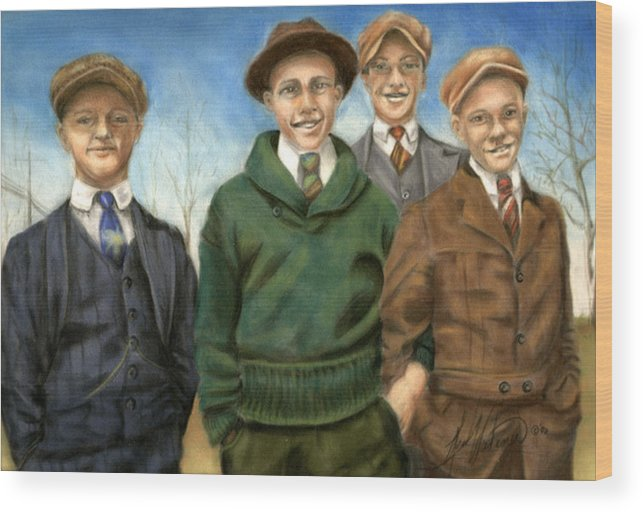 Friends Wood Print featuring the pastel The Fellas by Leah Wiedemer