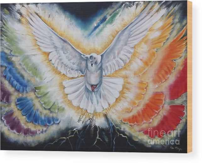 Holy Spirit Wood Print featuring the painting The Seven Spirits Series - The Spirit Of The Lord by Ilse Kleyn