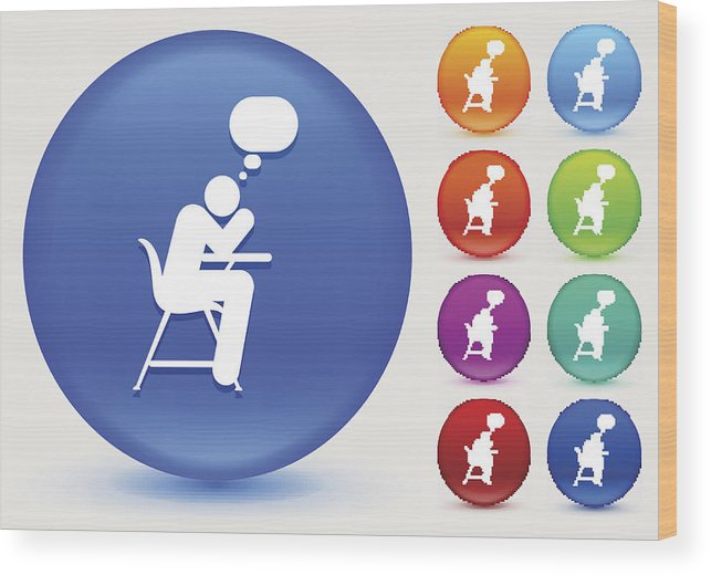 Thinking On School Desk Icon On Shiny Color Circle Buttons Wood Print