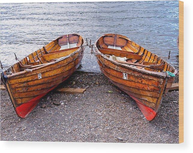 лодки Wood Print featuring the photograph Twin Boats by Nataliya Pergaeva