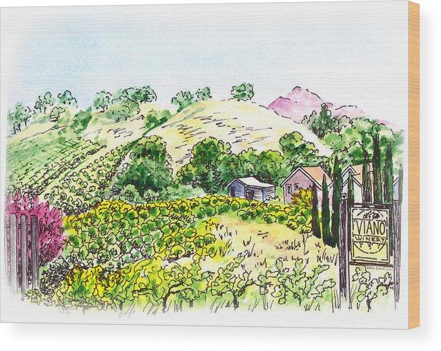 Wine Wood Print featuring the painting Viano Winery Martinez California by Irina Sztukowski