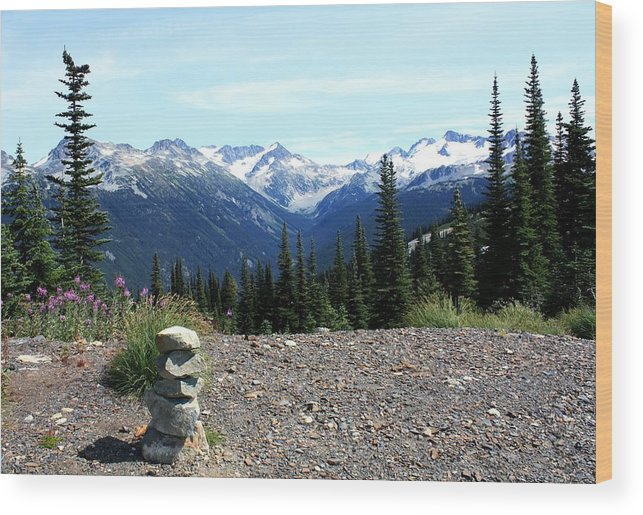 Snow Capped Mountains Wood Print featuring the photograph view from Whistler mountain by Amanda Holmes Tzafrir
