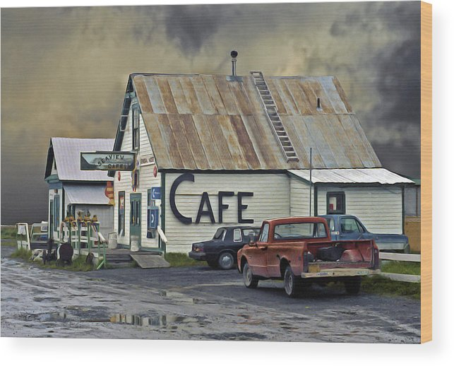 Alaska Wood Print featuring the photograph Vintage Alaska Cafe by Ron Day