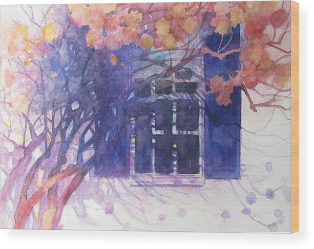 Hydrangea Wood Print featuring the painting Wall Of Hydrangea by Sherri Snyder