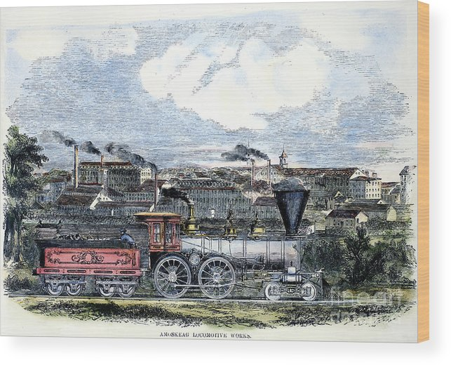 1855 Wood Print featuring the photograph Locomotive Factory, C1855 by Granger