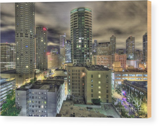 Seattle Wood Print featuring the photograph Seattle At Night by John Rowe