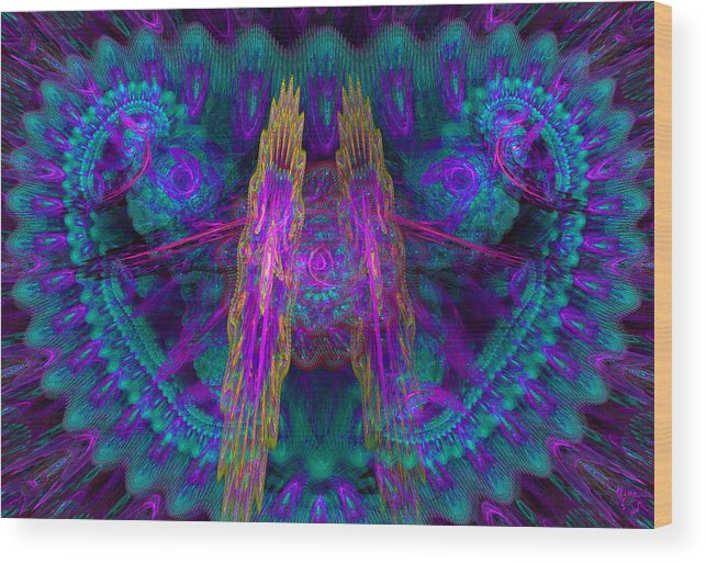 Abstract Wood Print featuring the digital art 418 by Lar Matre