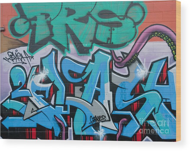 Graffiti Wood Print featuring the painting Abstract Graffiti On The Textured Wall by Yurix Sardinelly