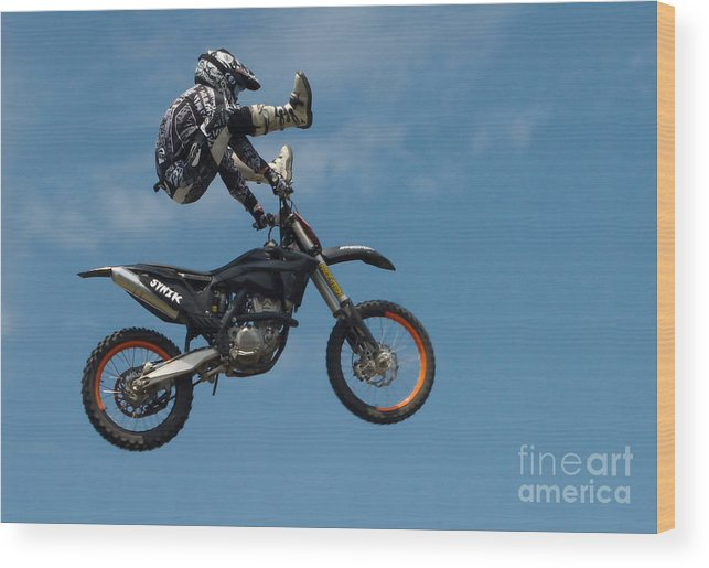 Motorcycle Wood Print featuring the photograph Amazing Trick Riding by Andrea Kollo