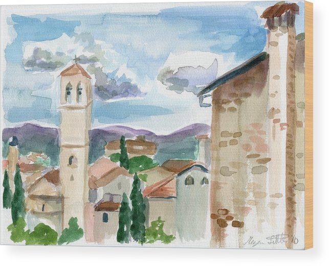 Watercolor Wood Print featuring the painting Assisi by Megan Little
