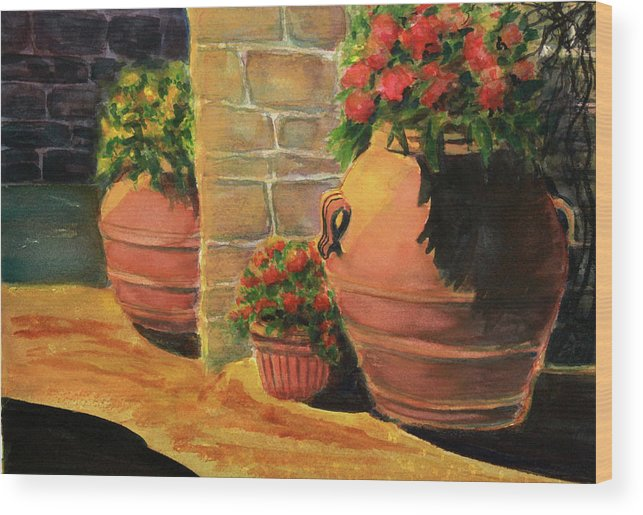 Wood Print featuring the painting Backyard Pots by Irina Voznyuk