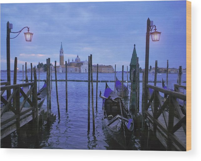 City Wood Print featuring the photograph Blue Hour At The Docks Of San Marco by Jeff Rose