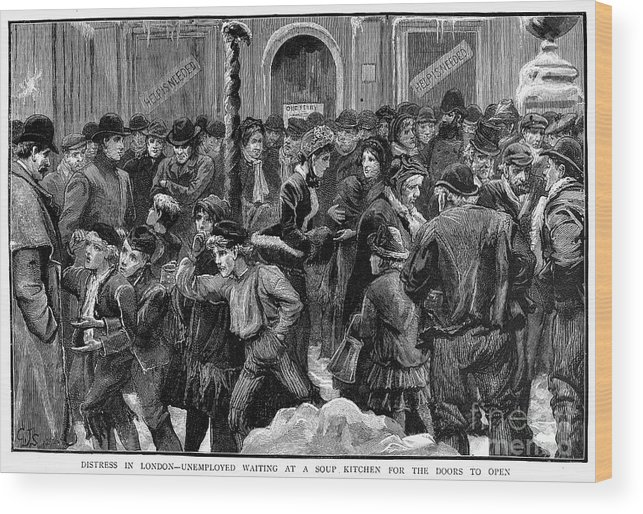 1886 Wood Print featuring the photograph London: Soup Kitchen by Granger