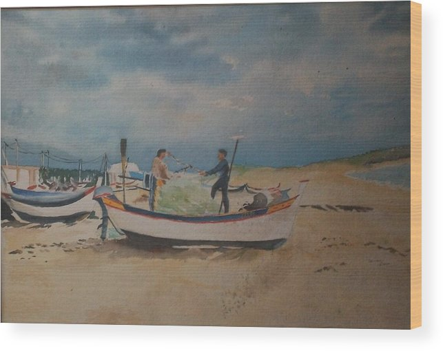 Artist Wood Print featuring the painting Mending The Fishing Nets by Janine Casse