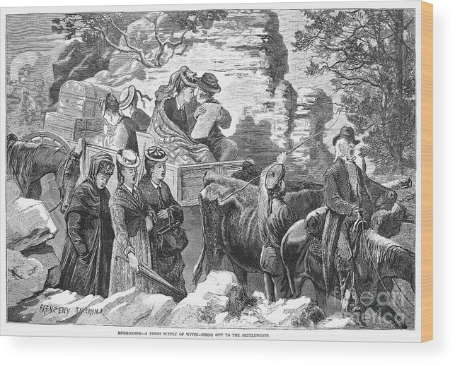 1875 Wood Print featuring the photograph Mormon Wives, 1875 by Granger