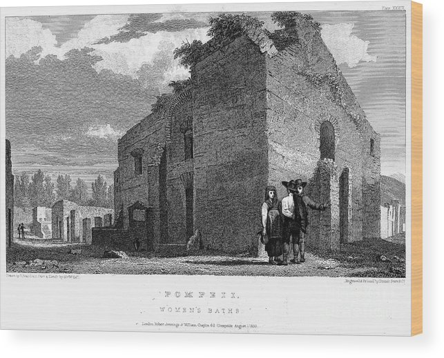 1830 Wood Print featuring the photograph Pompeii: Bathhouse, C1830 by Granger