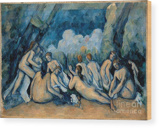 Cezanne Wood Print featuring the painting The Bathers by Extrospection Art