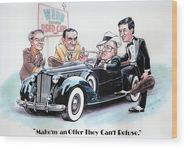 Caricatures Wood Print featuring the drawing Used Car Salesmen by Harry West