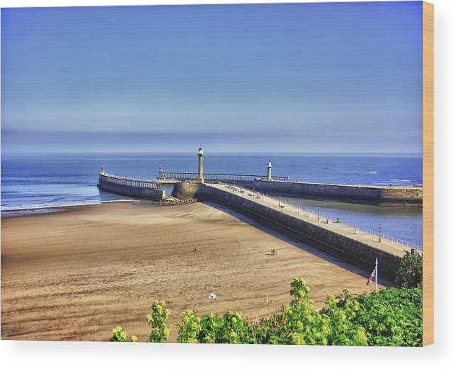 Whitby Wood Print featuring the photograph Whitby Harbour View by Trevor Kersley