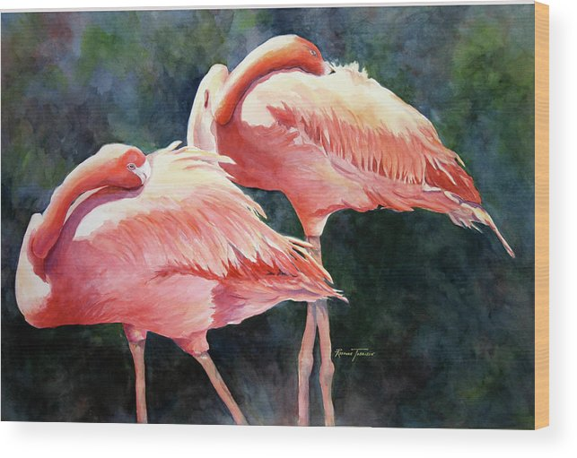 Flamingos Wood Print featuring the painting Who's Peek'n - Flamingos by Roxanne Tobaison
