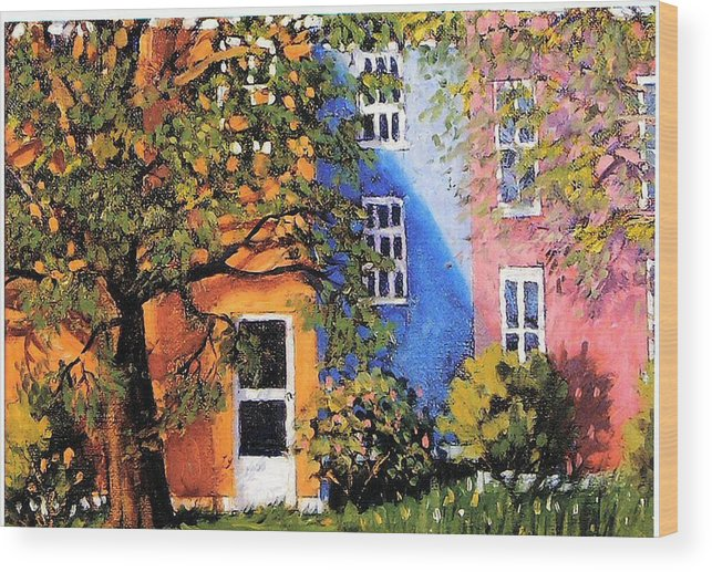 Scenic Wood Print featuring the painting Backyard by Jonathan Carter