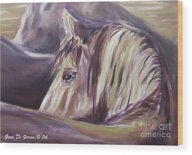 Brown Wood Print featuring the painting Horse World Detail by Gina De Gorna