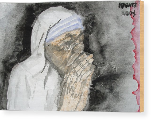 Mother Teresa Wood Print featuring the painting Miracle Mother by Rooma Mehra