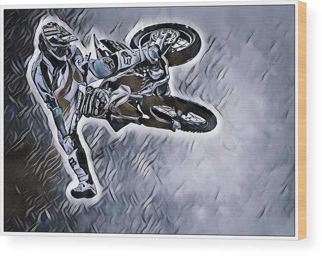Motorcycle Wood Print featuring the photograph Motocross by Rob Wallace Images