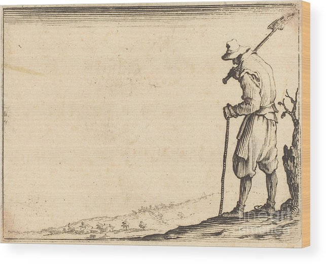 Wood Print featuring the drawing Peasant With Shovel On His Shoulder by Jacques Callot