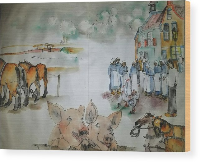 The Netherlands. Market Time Wood Print featuring the painting Land Of Clogs And Windmill Album by Debbi Saccomanno Chan