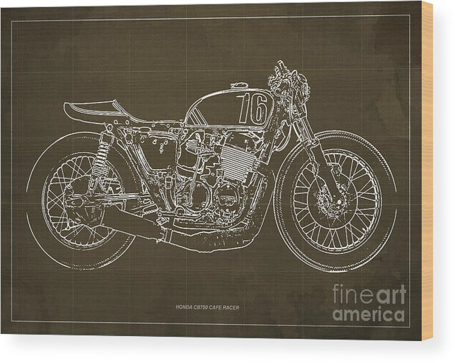 Honda cb750 cafe racer blueprint wood print by pablo franchi honda cb750 cafe racer blueprint wood print featuring the drawing honda cb750 cafe racer blueprint by malvernweather Images