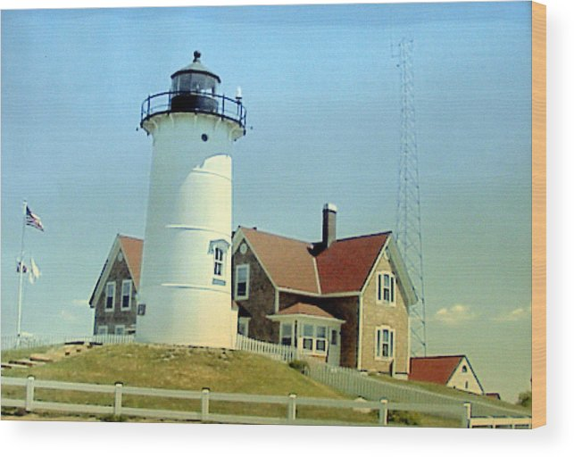 Lighthouse Photographs Wood Print featuring the painting Nobska Point Lighthouse by Frederic Kohli