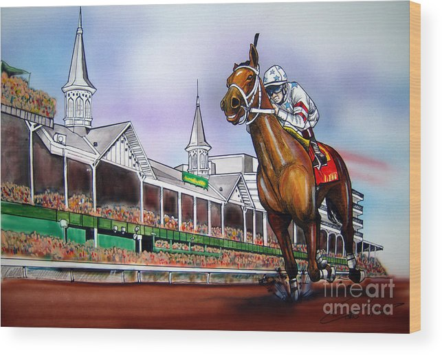 Kentucky Derby Wood Print featuring the painting 2008 Kentucky Derby Winner Big Brown by Dave Olsen