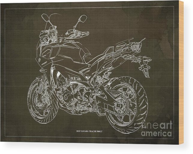 Wood Print featuring the digital art 2018 Yamaha Tracer 900gt Blueprint Brown Background Two Wheels Move The Soul by Drawspots Illustrations
