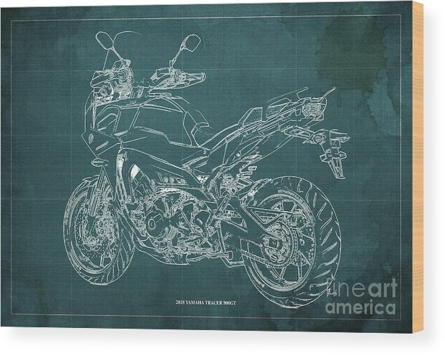 Wood Print featuring the digital art 2018 Yamaha Tracer 900gt Blueprint Green Background by Drawspots Illustrations