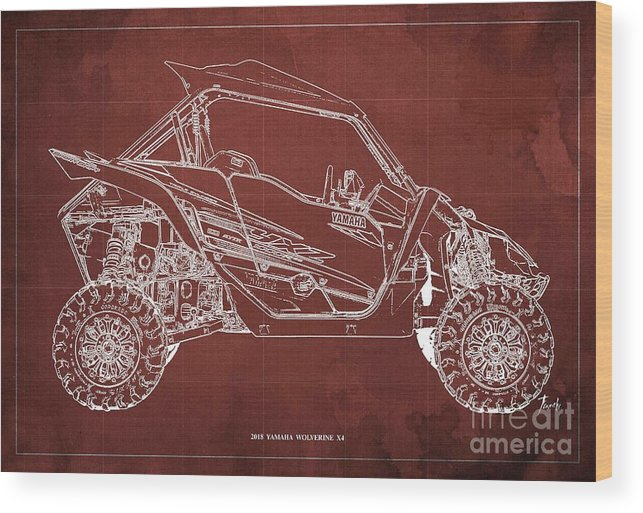 2018 Yamaha Wolverine X4 Wood Print featuring the digital art 2018 Yamaha Wolverine X4 Blueprint Red Background Gift For Him by Drawspots Illustrations